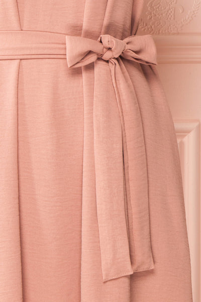 Claire Pink Short Sleeve Tie Waist Dress | Boutique 1861 bow