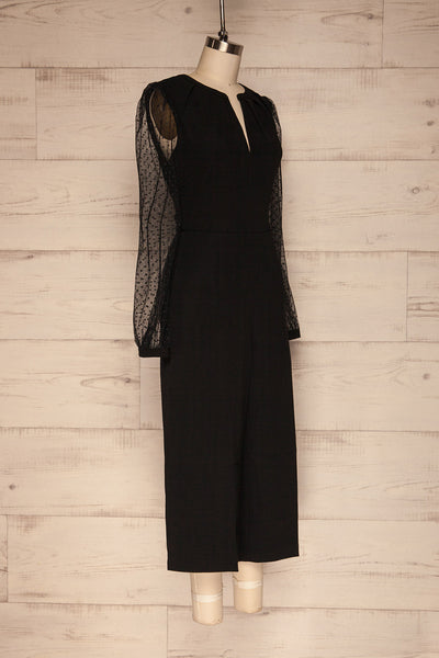 Clarene Black Wide Leg Jumpsuit side view | La Petite Garçonne