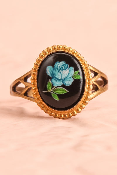Claudine Montgeard Black & Gold Floral Ring | Boutique 1861 flat close-up
