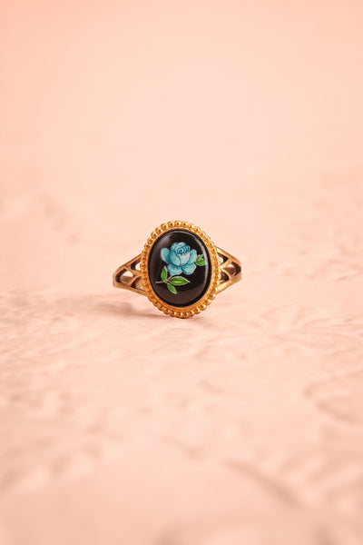 Claudine Montgeard Black & Gold Floral Ring | Boutique 1861 flat view