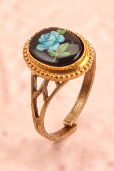 Claudine Montgeard Black & Gold Floral Ring | Boutique 1861 close-up