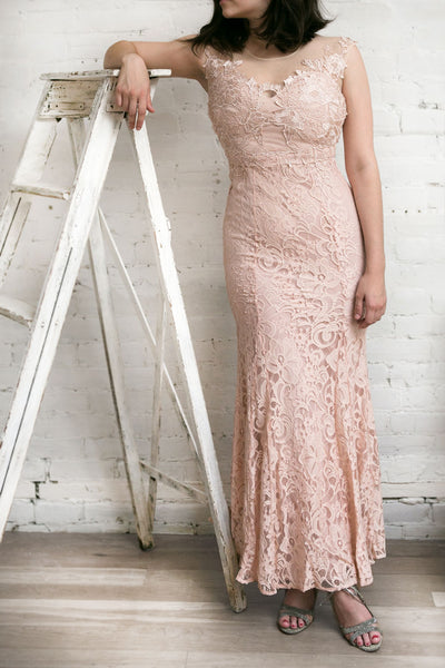 Cléa Blush | Lace Mermaid Gown