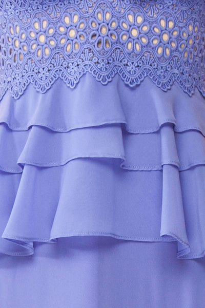 Clematite Lilac Layered Ruffles Maxi Dress | Boutique 1861 fabric