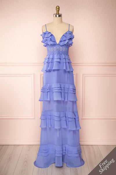 Clematite Lilac Layered Ruffles Maxi Dress | Boutique 1861 front view