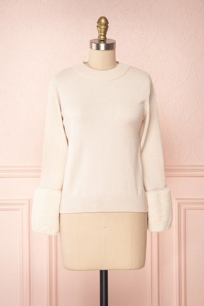 Coblence Beige Sweater w/ Faux Fur Sleeves | Boutique 1861