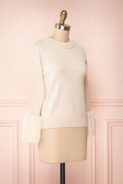 Coblence Beige Knit Sweater w. Faux Fur Sleeves | Boutique 1861 side view