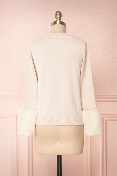 Coblence Beige Knit Sweater w. Faux Fur Sleeves | Boutique 1861 back view
