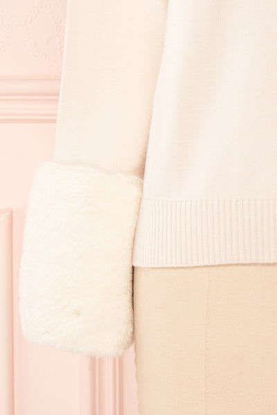 Coblence Beige Knit Sweater w. Faux Fur Sleeves | Boutique 1861 bottom close-up