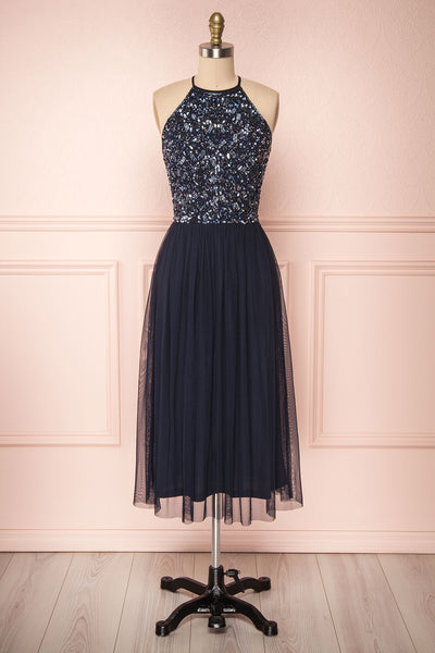 Cocytia Navy Blue Sequin Dress | Robe de Fête | Boutique 1861