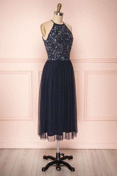 Cocytia Navy Blue Sequin Dress | Robe de Fête side view | Boutique 1861