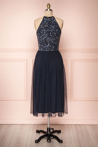 Cocytia Navy Blue Sequin Dress | Robe de Fête back view | Boutique 1861