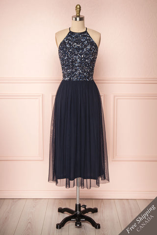 Cocytia Navy Blue Sequin Dress | Robe de Fête front view FS | Boutique 1861