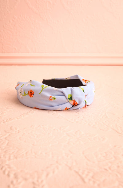 Cogitare Blue Floral Print Knotted Headband | Boutique 1861 flat view