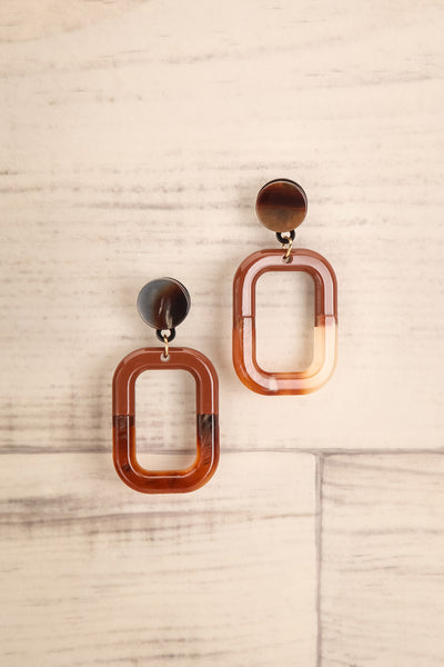 Cogito Brun Brown Marbled Pendant Earrings | La Petite Garçonne