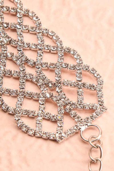 Colligo Silver Crystal Studded Choker Necklace | Boutique 1861 flat close-up