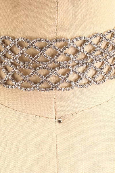 Colligo Silver Crystal Studded Choker Necklace | Boutique 1861 close-up