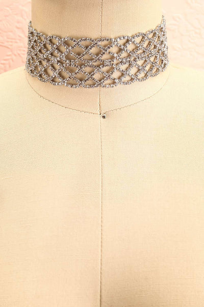 Colligo Silver Crystal Studded Choker Necklace | Boutique 1861