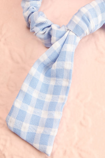 Collis Blue Gingham Hair Scrunchie with Bow | Boutique 1861 close-up