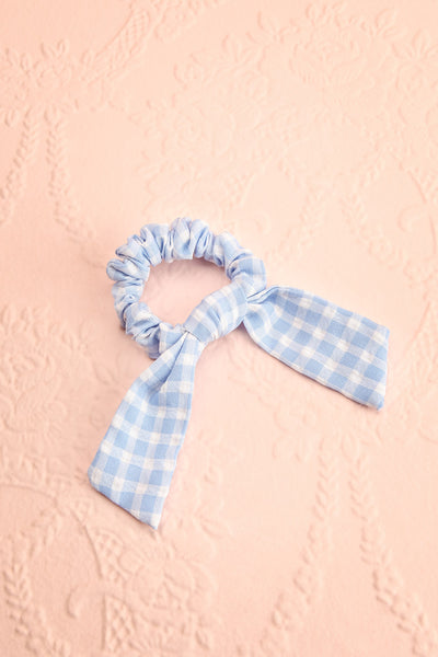 Collis Blue Gingham Hair Scrunchie with Bow | Boutique 1861