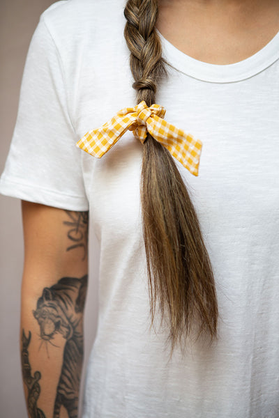Collis Yellow Gingham Hair Scrunchie with Bow | Boutique 1861 on model