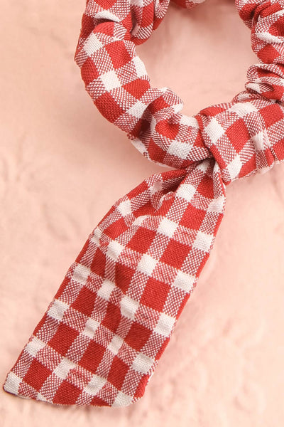 Collis Red Gingham Hair Scrunchie with Bow | Boutique 1861 close-up