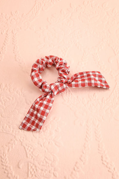 Collis Red Gingham Hair Scrunchie with Bow | Boutique 1861