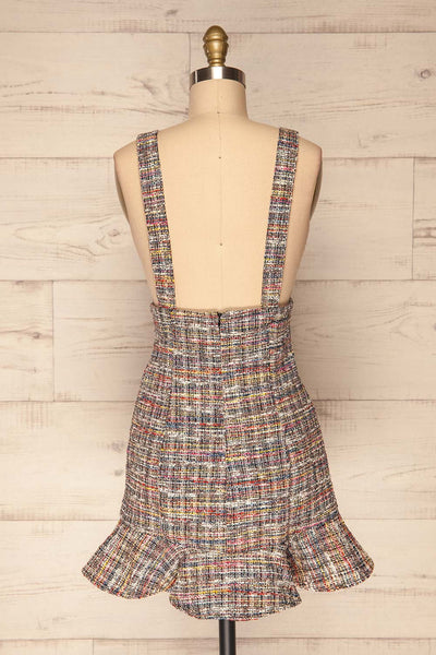 Colmar Colourful Tweed Short Skirt w/ Straps back view | La Petite Garçonne