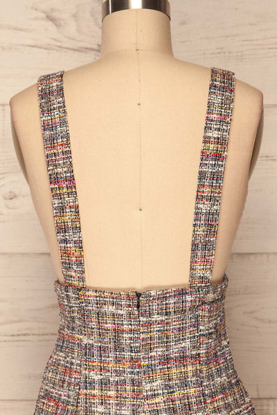 Colmar Colourful Tweed Short Skirt w/ Straps back close up | La Petite Garçonne