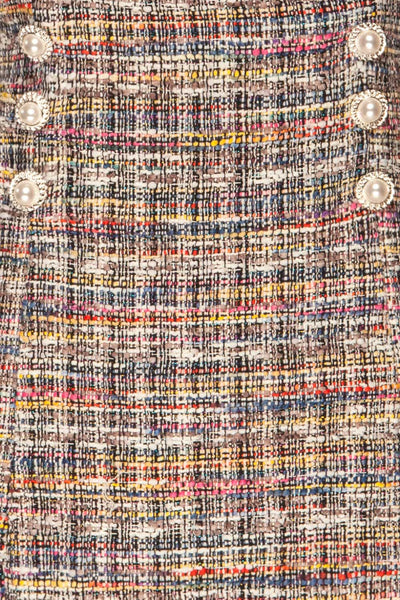 Colmar Colourful Tweed Short Skirt w/ Straps texture close up | La Petite Garçonne