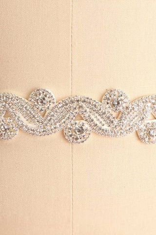 Columna White Ribbon Belt with Crystal Ornament | Boudoir 1861 4