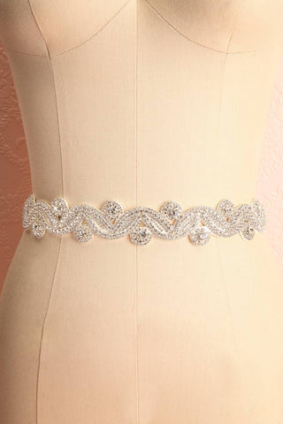 Columna White Ribbon Belt with Crystal Ornament | Boudoir 1861 3