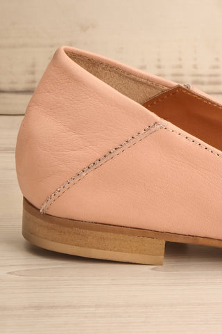 Connor Blush Leather Wedge Peep-Toe Shoes side back close-up | La Petite Garçonne Chpt. 2 6
