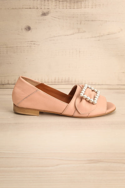 Connor Blush Leather Wedge Peep-Toe Shoes side view | La Petite Garçonne Chpt. 2 5