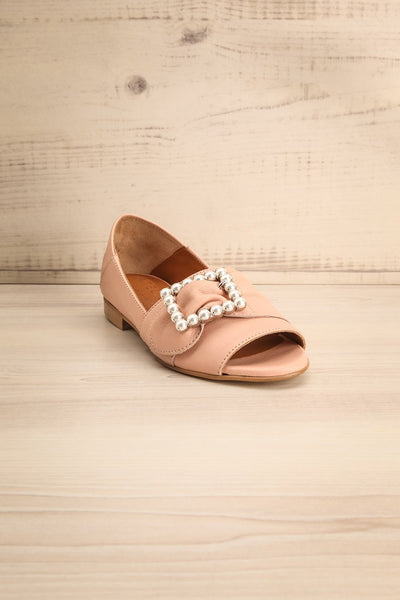 Connor Blush Leather Wedge Peep-Toe Shoes front view | La Petite Garçonne Chpt. 2 3