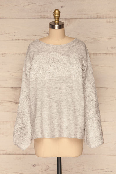 Consolata Grey Loose Knit Sweater w/ Lace | Boutique 1861  front view