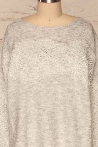 Consolata Grey Loose Knit Sweater w/ Lace | Boutique 1861  front close-up