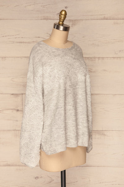 Consolata Grey Loose Knit Sweater w/ Lace | Boutique 1861  side view