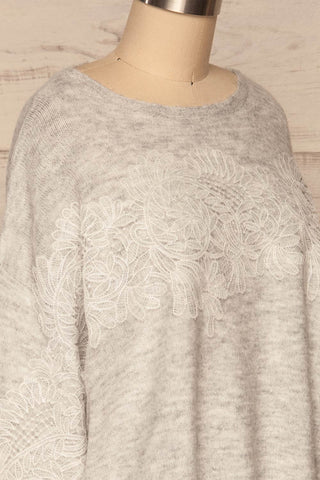 Consolata Grey Loose Knit Sweater w/ Lace | Boutique 1861  side close-up