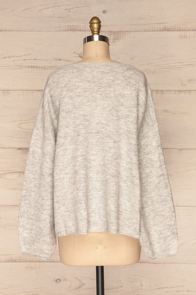 Consolata Grey Loose Knit Sweater w/ Lace | Boutique 1861  back view