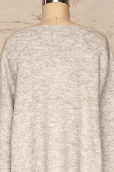 Consolata Grey Loose Knit Sweater w/ Lace | Boutique 1861 back close-up