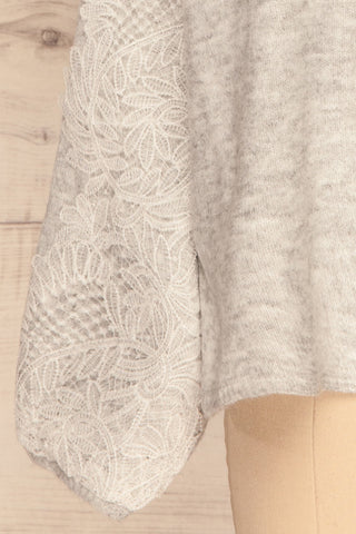 Consolata Grey Loose Knit Sweater w/ Lace | Boutique 1861  bottom close-up