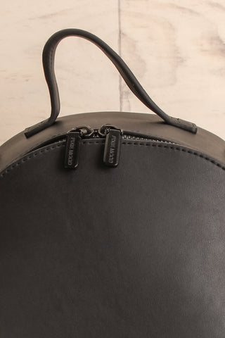 Coran Black Pixie Mood Faux-Leather Backpack front close-up | La Petite Garçonne