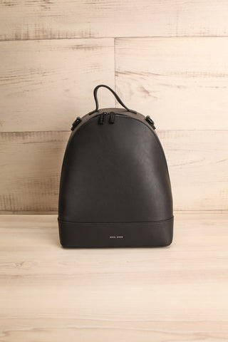 Coran Black Pixie Mood Faux-Leather Backpack front view | La Petite Garçonne