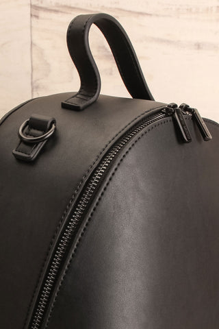 Coran Black Pixie Mood Faux-Leather Backpack side close-up | La Petite Garçonne