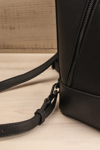 Coran Black Pixie Mood Faux-Leather Backpack strap side close-up | La Petite Garçonne