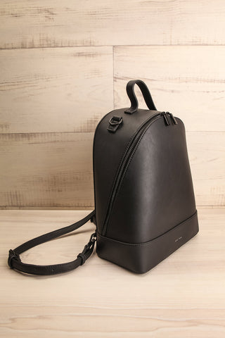Coran Black Pixie Mood Faux-Leather Backpack side view | La Petite Garçonne