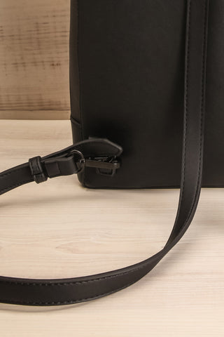 Coran Black Pixie Mood Faux-Leather Backpack strap close-up | La Petite Garçonne