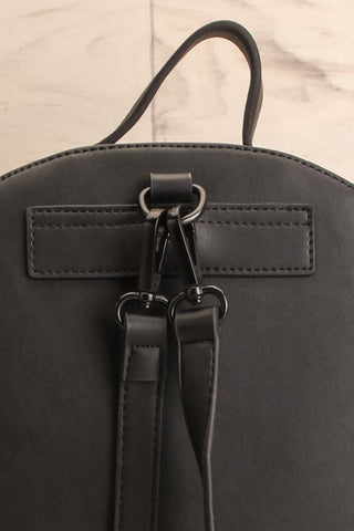 Coran Black Pixie Mood Faux-Leather Backpack back close-up | La Petite Garçonne