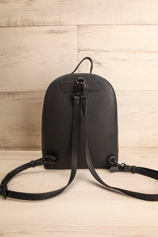 Coran Black Pixie Mood Faux-Leather Backpack back view | La Petite Garçonne