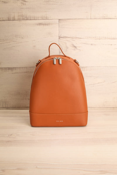 Coran Cognac Pixie Mood Faux-Leather Backpack front view | La Petite Garçonne